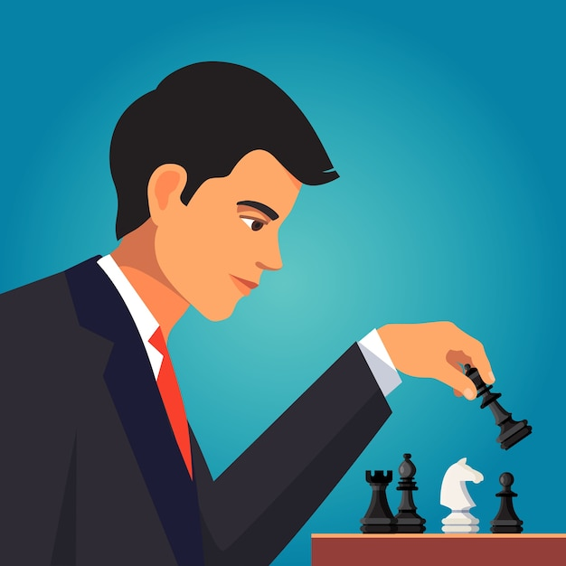 Confident businessman playing a chess Free Vector