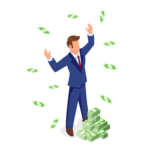 Confident faceless brown haired man in formal suit standing near piles of banknotes and enjoying wealth. financial and sales growth, business development, getting profit, investment isometric concept. Premium Vector