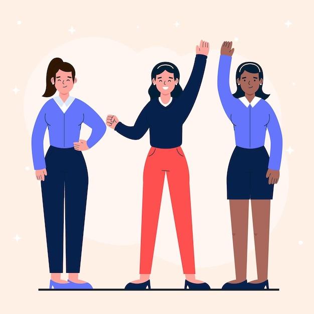 Уверенные женщины-предприниматели иллюстрированы Бесплатные векторы