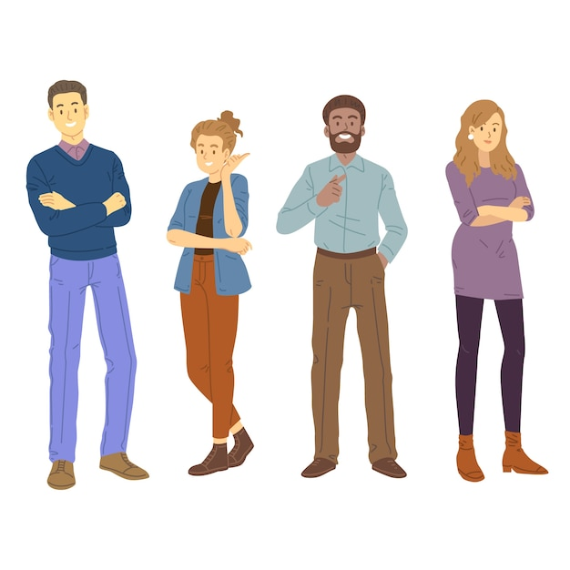 Confident people collection design Free Vector