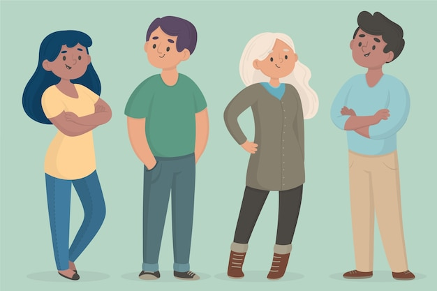 Confident people collection illustration Free Vector