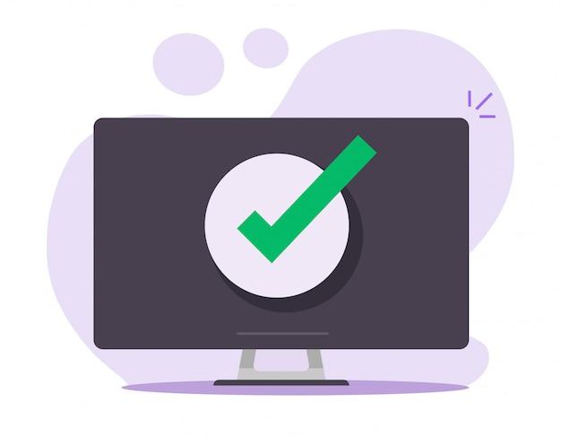 承認された通知を確認するデスクトップコンピューターのpcでメッセージのチェックマーク通知を受け入れる Premiumベクター