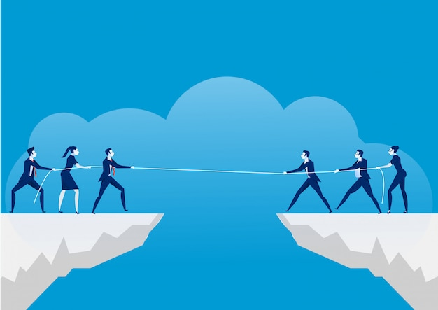 Conflict concept. businessmen pulling rope over precipice. business rivalry and competition Premium Vector