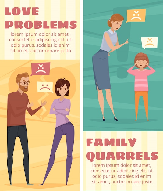 Conflict vertical banners with arguing love couple and mother Free Vector
