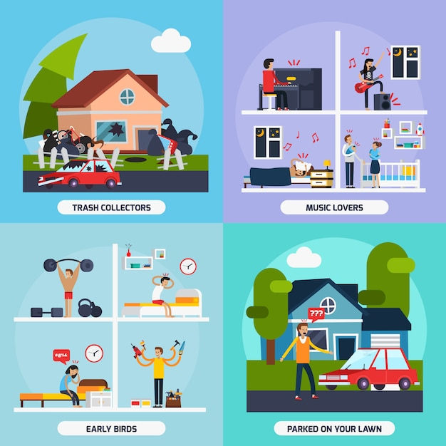 Conflicts with neighbors concept icons set Free Vector
