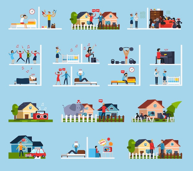 Conflicts with neighbors icons set Free Vector