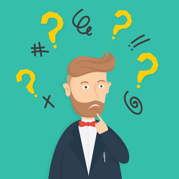 Character Design Questions : Confused businessman character cartoon vector design