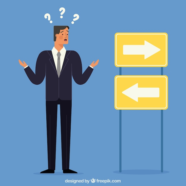 Confused businessman character Free Vector