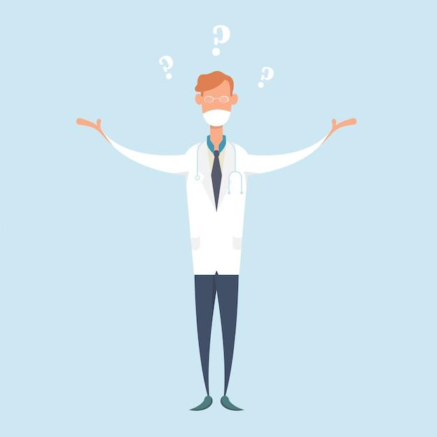 Смущенный доктор, носящий медицинскую маску и вопросы. Premium векторы
