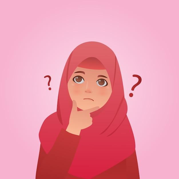 Confused hijab girl portrait illustration Premium Vector