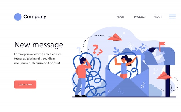 Confused upset couple communicating with email. website template or landing page Free Vector