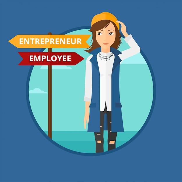 Confused woman choosing career pathway. Premium Vector