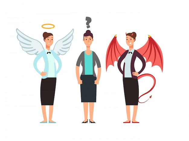 Confused woman with angel and devil over shoulders. business ethics vector concept Premium Vector