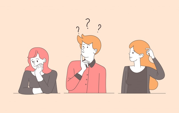 Confused young people linear flat illustration. guy, pretty uncertain girls solving problem, searching answers isolated contour characters. pensive, puzzled women and man with thoughtful expression Premium Vector