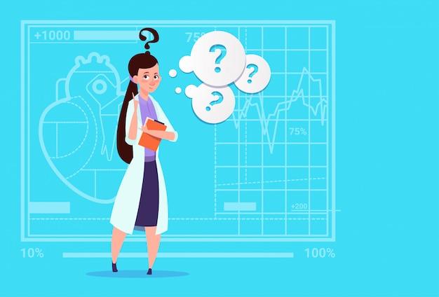 Женский доктор confused мышление медицинская клиника работник больницы Premium векторы