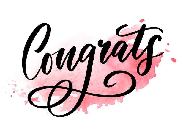 Congrats card lettering calligraphy Premium Vector