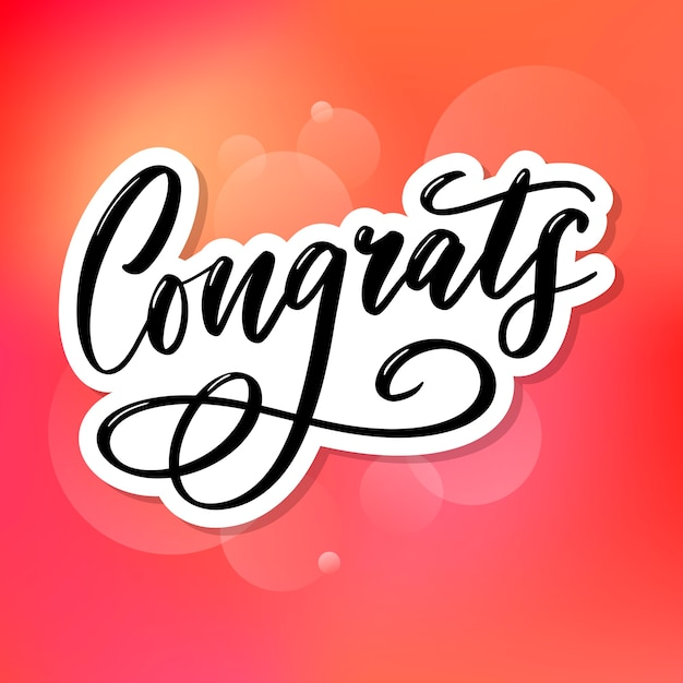 Congrats congratulations card lettering calligraphy text brush Premium Vector