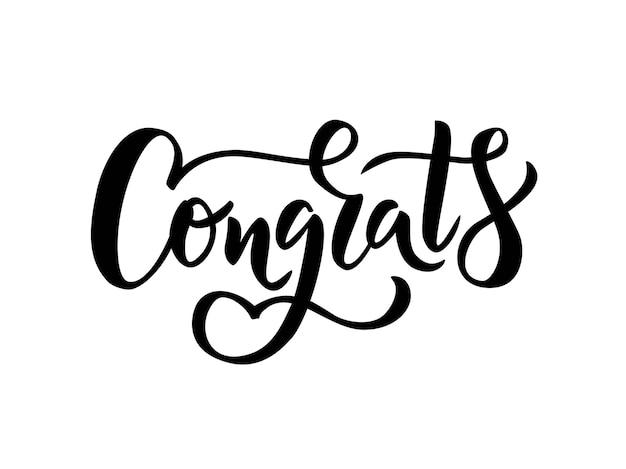 Congrats hand lettering word Premium Vector