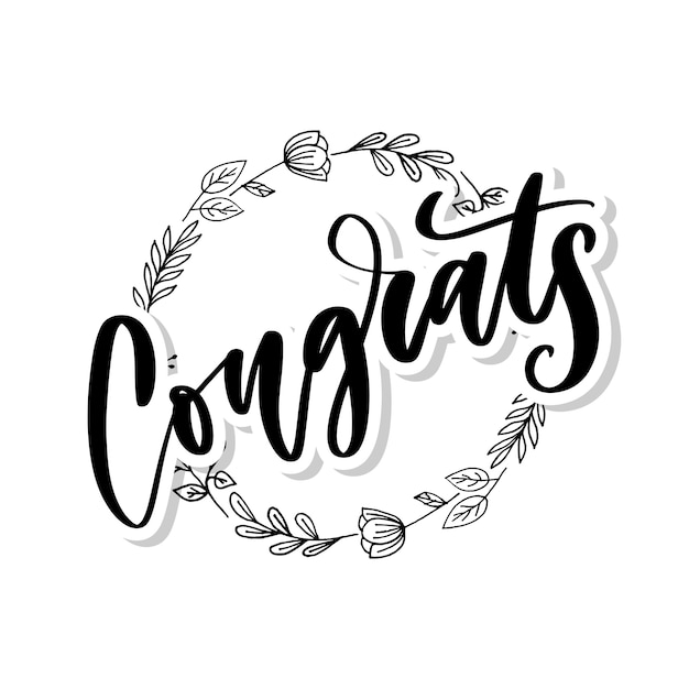 Congrats hand written lettering for congratulations card, greeting card, invitation, and print. isolated Premium Vector