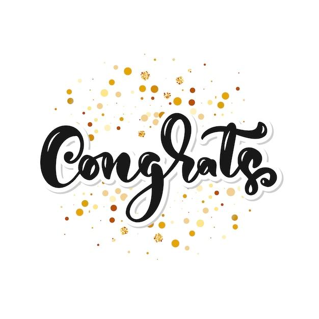 Congrats hand written lettering for congratulations card Premium Vector