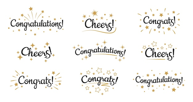Congrats lettering. congratulation text labels, cheers sign decorated with golden burst and stars and congratulations Free Vector