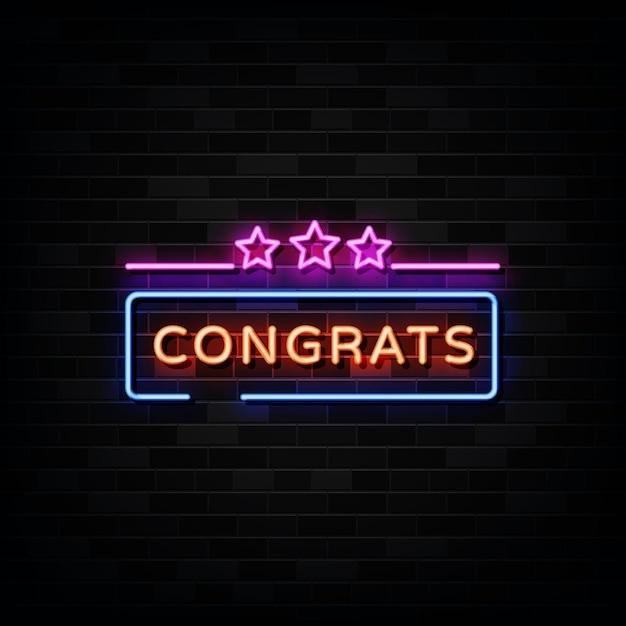 Congrats neon signs .  template neon sign Premium Vector