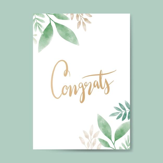 Congrats watercolor card design vector Free Vector