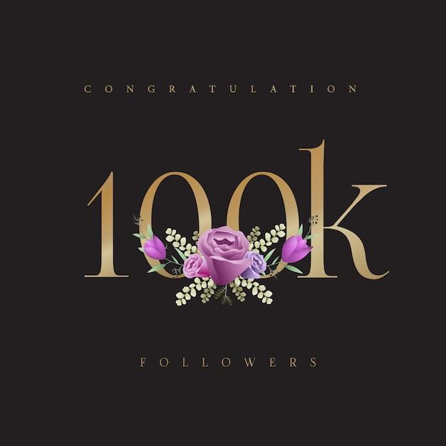 Congratulation! 100k followers design Premium Vector