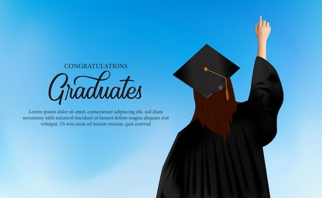 Congratulation academy concept with women put on gown and graduation caps Premium Vector