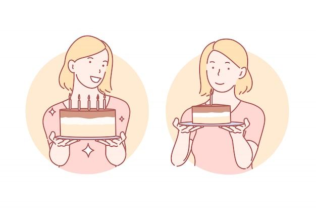 おめでとう、誕生日ケーキセットイラスト Premiumベクター