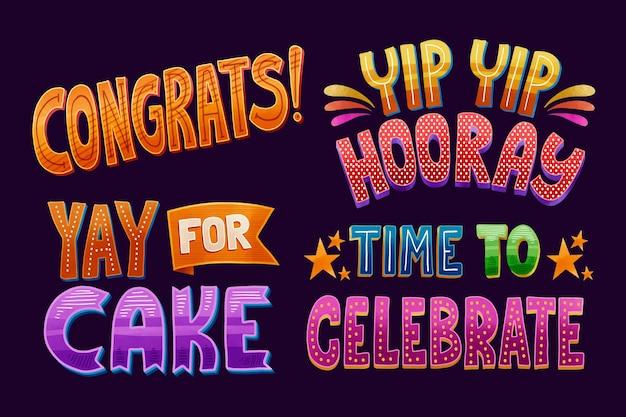 Поздравление красочными буквами Бесплатные векторы