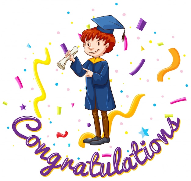 Congratulations Card Template With Man In Graduation Gown Vector