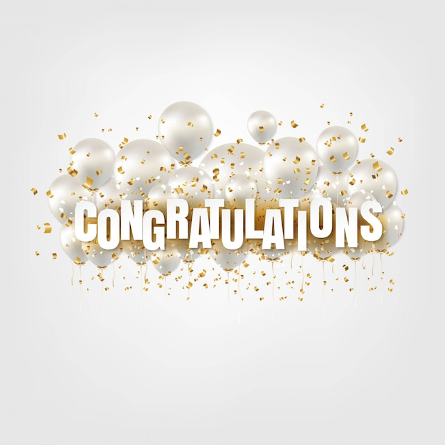 Congratulations card and white balloons on white Premium Vector