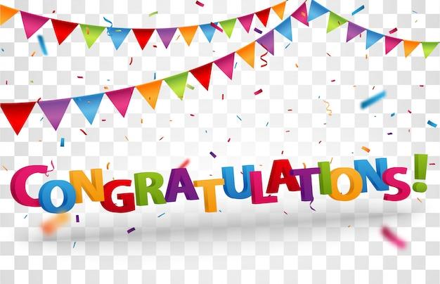Congratulations design letters with colorful confetti Premium Vector