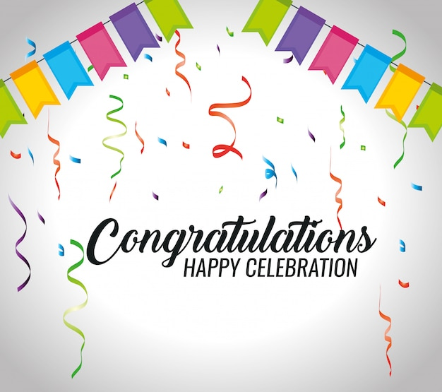 Congratulations event with party decoration and confetti Free Vector