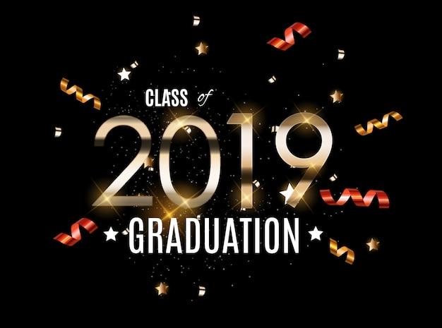 Congratulations on graduation 2019 class Premium Vector