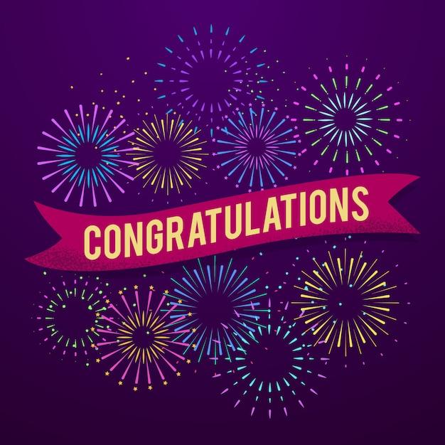 Congratulations poster celebration vector illustration background Premium Vector