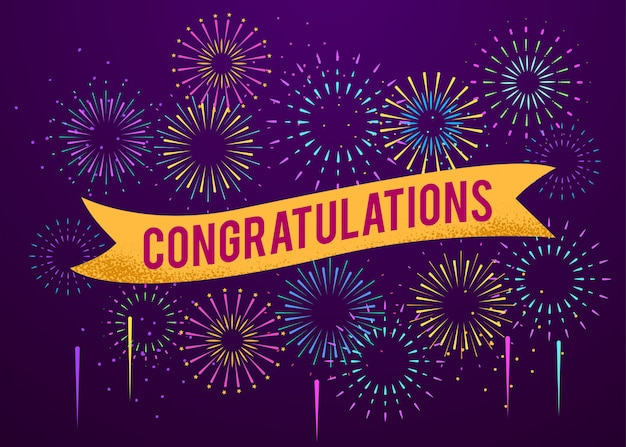 Congratulations poster with fireworks explosions background Premium Vector
