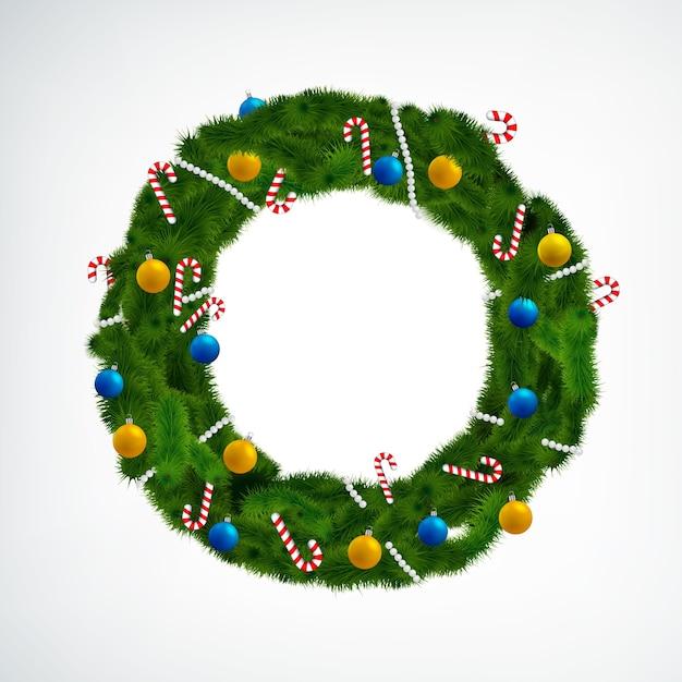 Conifere ghirlanda di natale decorata con palline e caramelle su bianco Vettore gratuito