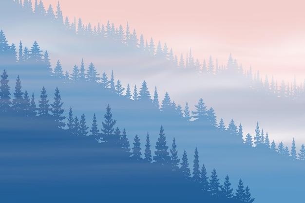 Хвойный лес в тумане на рассвете Premium векторы