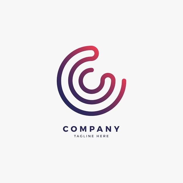 Connect c letter logo design template Premium Vector