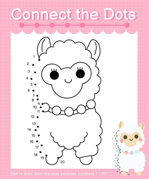 Connect the dots: alpaca - dot to dot games for children counting number 1-20 Premium Vector
