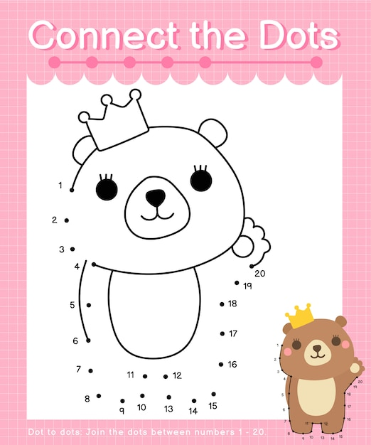 Connect the dots: bear - dot to dot games for children counting number 1-20 Premium Vector