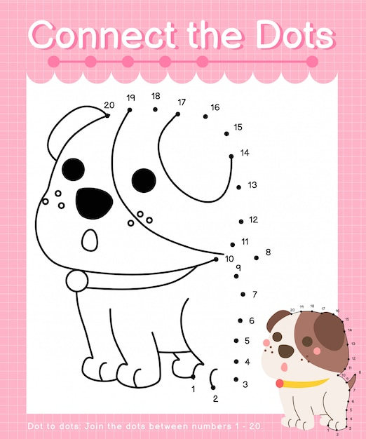 Connect the dots: dog - dot to dot games for children counting number 1-20 Premium Vector