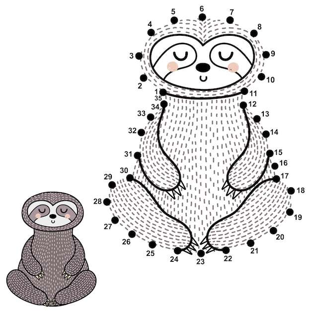 Connect the dots and draw a cute meditating sloth Premium Vector