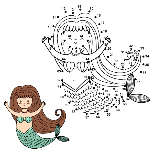 Connect the dots to draw the cute mermaid and color it. educational numbers and coloring game for children.   illustration Premium Vector
