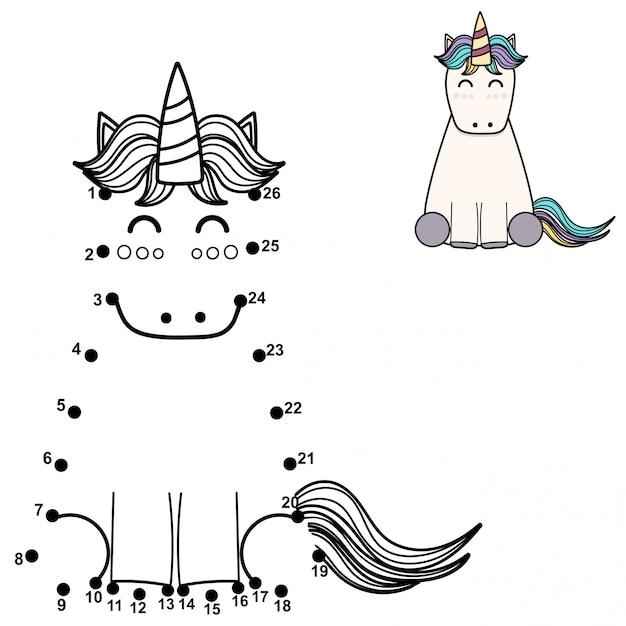 Connect the dots and draw a cute unicorn. numbers game for children.   illustration Premium Vector