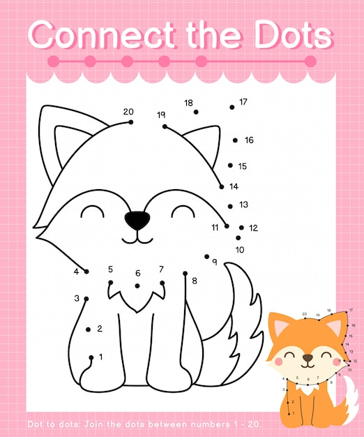Connect the dots: fox - dot to dot games for children counting number 1-20 Premium Vector
