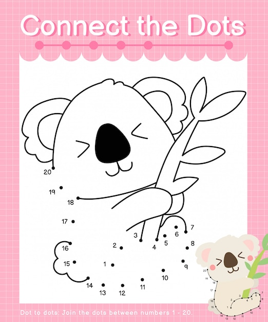 Connect the dots: koala - dot to dot games for children counting number 1-20 Premium Vector