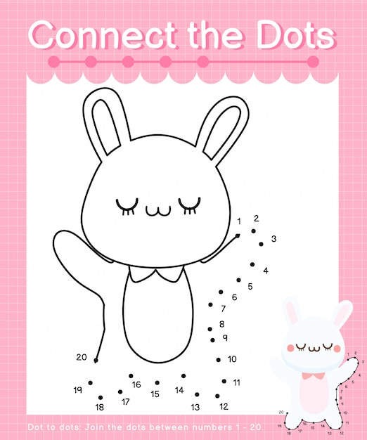 Connect the dots: rabbit - dot to dot games for children counting number 1-20 Premium Vector